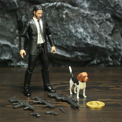 Action Figure 7 inch John Wick Figure De Luxe with Accessories ( Dog and Guns, Coin ) Diamond Select