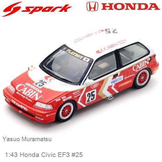 Honda Civic EF3 #25 2nd Grp3 Macau Guia Race 1989 Yasuo Muramatsu 1-43 Spark