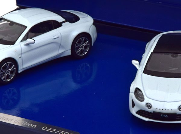 Renault Alpine Set 2 Car Alpine 110 Pure en A110S 2019 Wit Metallic 1-43 Norev Giftbox Limited 500 Pieces
