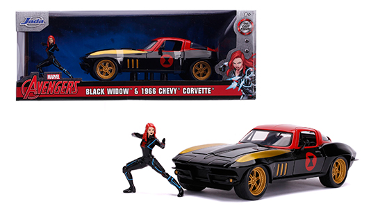 Chevrolet Corvette 1966 with Black Widow Figure 1:24 Scale Diecast Model by Jada Toys