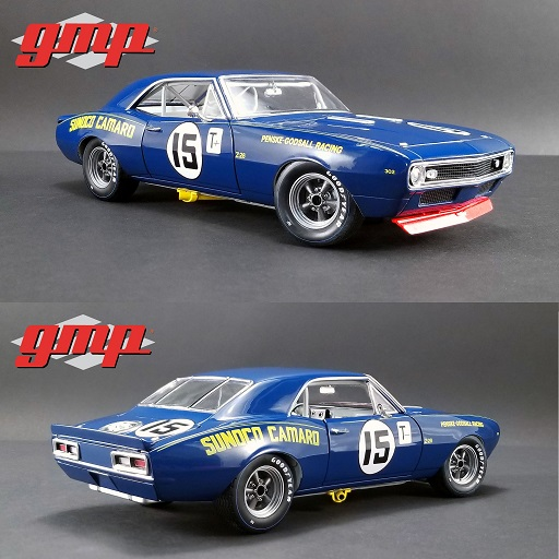 "Chevrolet Camaro Trans Am Z/28 1967 Nr# 15 ""Sunoco Racing"" Penske Godsall Racing Mark Donohue Blauw 1:18 GMP Limited 900 Pieces"