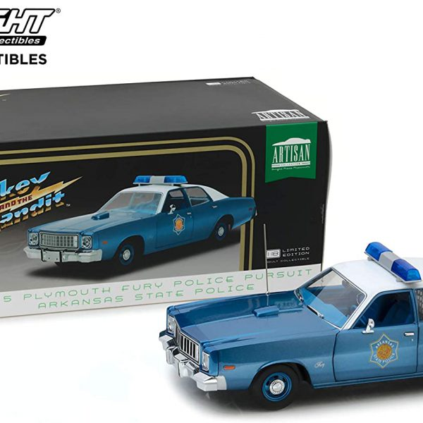 """Plymouth Fury 1975 Police Pursuit Arkansas State Police """"Smokey and the Bandit"""" Blauw / Wit 1-18 Greenlight Collectibles"""