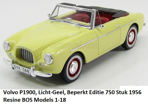 Volvo P1900 1956 Geel 1-18 BOS Models Limited 750 Pieces
