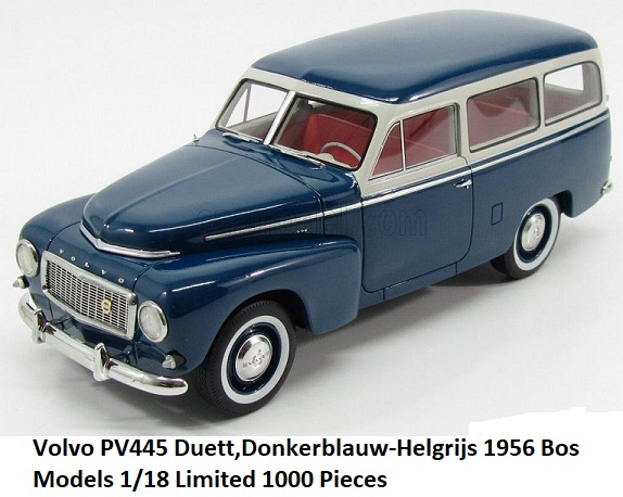 Volvo PV445 Duetto Blauw / Grijs 1-18 BOS Models Limited 1000 Pieces
