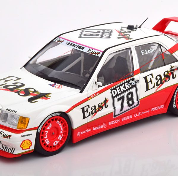"Mercedes-Benz 190E 2.5-16 Evo 2 No.78, DTM 1991 ""East"" E. Lohr Rood / Wit 1-18 Minichamps Limited 350 Pieces"