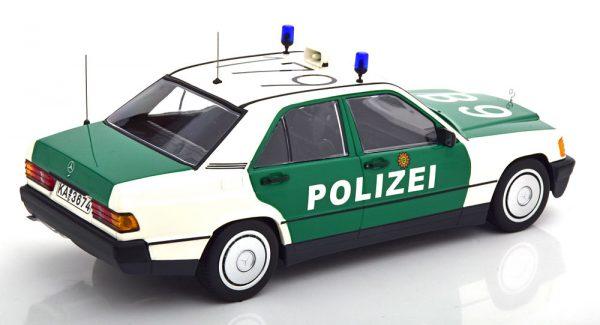 Mercedes-Benz 190E ( W201 )1982 Polizei Duitsland Wit / Groen 1-18 Minichamps Limited 300 Pieces