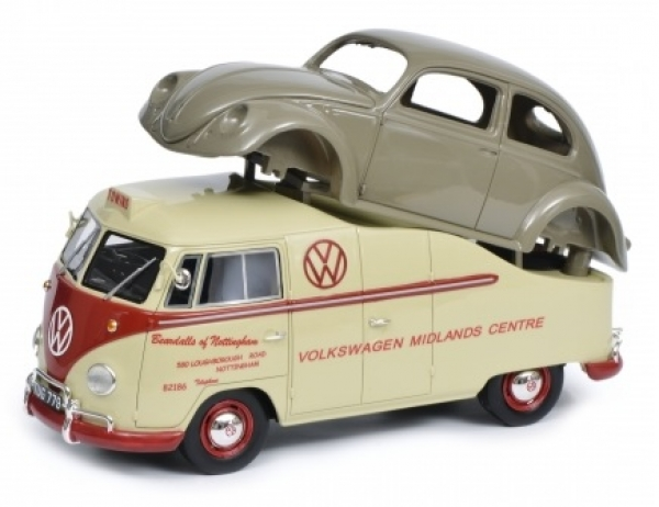 "Volkswagen T1A Bus met Bril Kever Body ""Midlands Centre"" Beige / Rood / Grijs 1:18 Schuco Pro R Limited 500 Pieces"