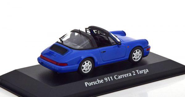 Porsche 911 (964) Carrera 2 Targa 1991 Blauw 1-43 Maxichamps
