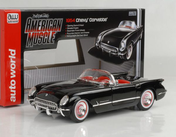 Chevrolet Corvette Roadster 1954 Zwart 1-18 Ertl Autoworld