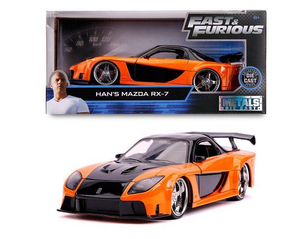 "Mazda RX-7 Han's ""Fast and the Furious"" Oranje/ Zwart 1-24 Jada Toys"