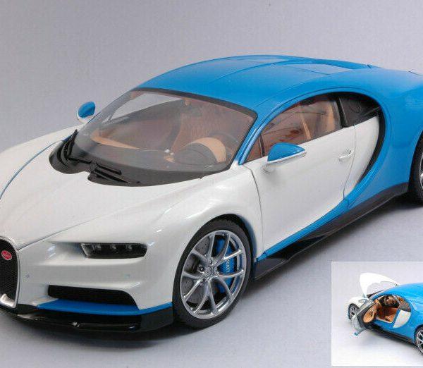 Bugatti Chiron 2016 Wit / Blauw 1-18 Welly GT Autos