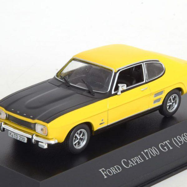Ford Capri 1700 GT Coupe 1969 Geel / Zwart 1-43 Altaya