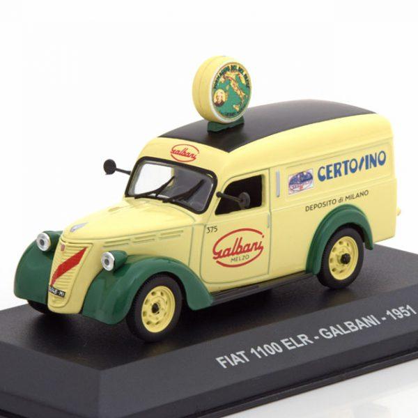 "Fiat 1100 ELR ""Galbani"" 1951 Beige / Groen 1-43 Altaya"