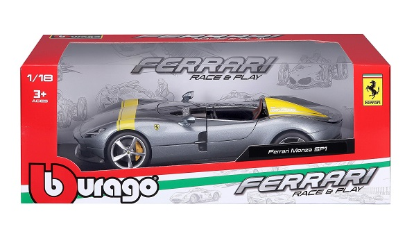 Ferrari Monza SP1 2019 Grijs Metallic / Geel 1:18 Bburago Race en Play Series
