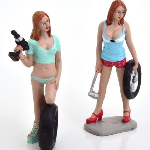 Tyre Brigade Set #5 Michele and Meg 1-18 ( Kunststof ) Motorhead Miniatures