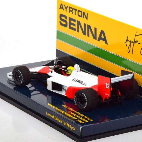 McLaren Honda MP4/4 Winner GP HUngarian 1988 Ayrton Senna 1-43 Minichamps Limited 580 Pieces