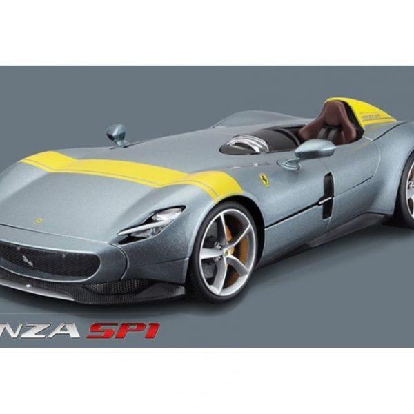 Ferrari Monza SP1 2019 Grijs Metallic / Geel 1:18 Bburago Race en Play Series