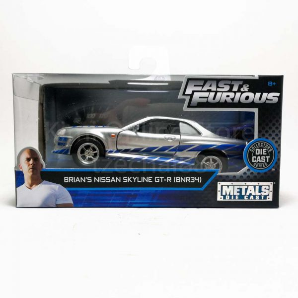 "Nissan Skyline GT-R R34 Brian's ""Fast and The Furious"" Zilver / Blauw 1-32 Jada Toys"