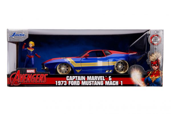 Marcel Avengers Ford Mustang Mach 1 1973 & Captain Marvel Blauw/Rood/Geel 1-24 Jada Toys