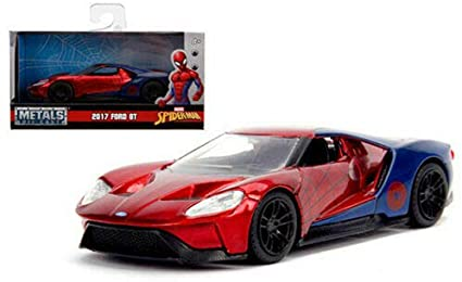 Marvel Spider-Man Ford GT 2017 & Spider-Man 1-24 Rood Metallic/Blauw Jada Toys