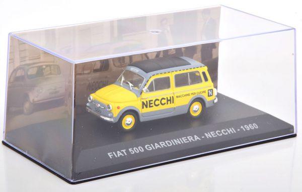 "Fiat 500 Giardiniera 1960 ""Necchi"" Grijs / Geel 1-43 Altaya"