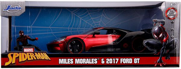 Marvel Spider-Man Ford GT 2017 & Miles Morales 1-24 Rood/Zwart Jada Toys