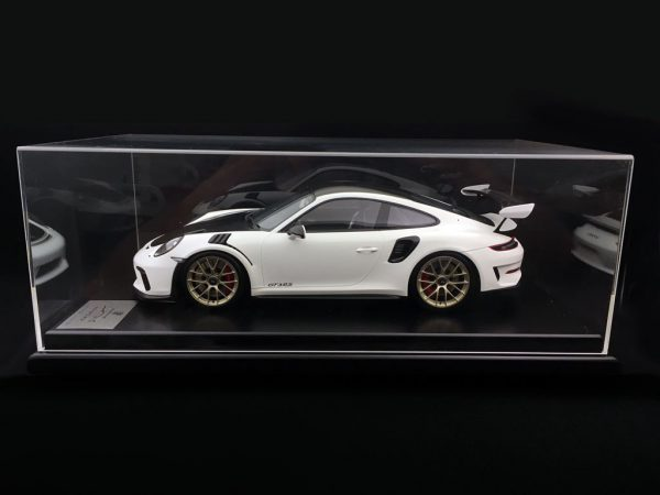 Porsche 911 (991 II) GT3 RS Weissach Package 2018 Wit met Vitrine 1:12 Spark Limited 300 Pieces