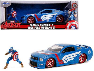 Marvel Avengers Ford Mustang GT 2006 & Captain Marvel 1-24 Blauw/Wit Jada Toys