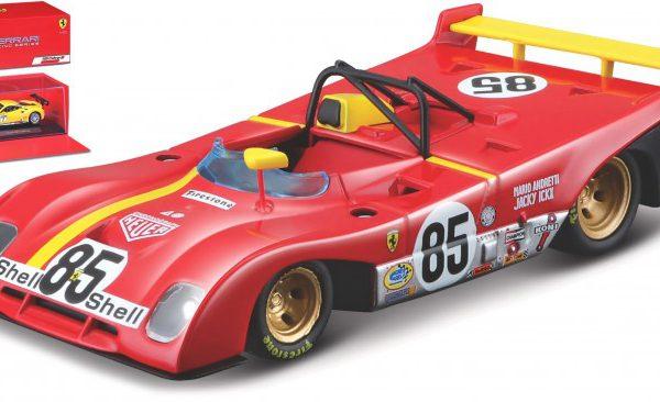 Ferrari 312 P #85 6th Whatkins Glen 1972 Rood / Geel J.Ickx / M.Andretti 1-43 Burago Racing Series