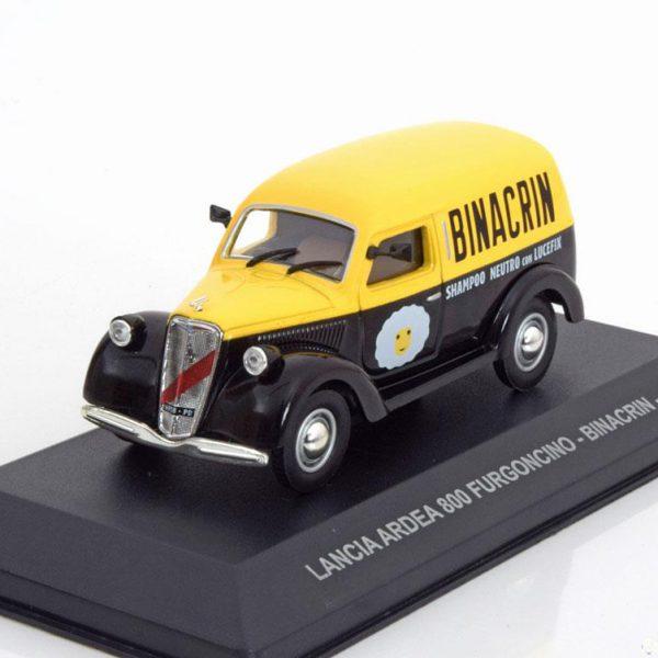 """Lancia Ardea 800 Furgoncino """"Binacrin"""" 1949 Zwart / Geel 1-43 Altaya"""