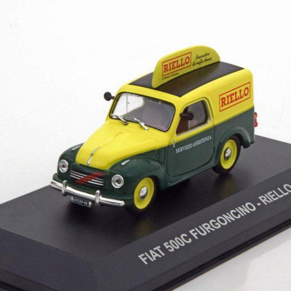 "Fiat 500 C Furgoncino ""Riello"" 1959 Groen / Geel 1-43 Altaya"