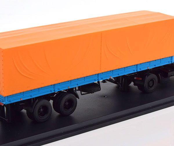 Maz 5432 met Trailer 1-43 Rood / Oranje / Blauw Premium Classixxs ( Metaal )