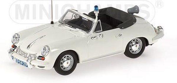"""Porsche 356C Cabriolet 1965 """"Rijkspolitie"""" 1-43 Wit Minichamps Limited 1344 pcs."""
