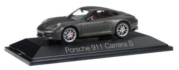 Porsche 911 Carrera Coupé S 2016 ( 991 II ) Grijs Metallic 1-43 Herpa