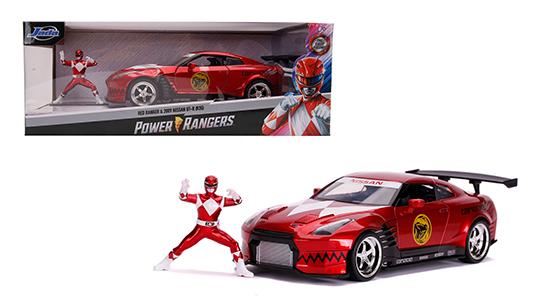 "Nissan GT-R (R35) 2009 ""Met figuur Red Ranger Power Rangers"" Rood Metallic 1:24 Jada Toys"
