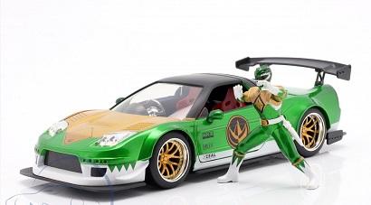 "Honda NSX Type R 2002 ""Met figuur Green Ranger Power Rangers"" Groen Metallic 1:24 Jada Toys"