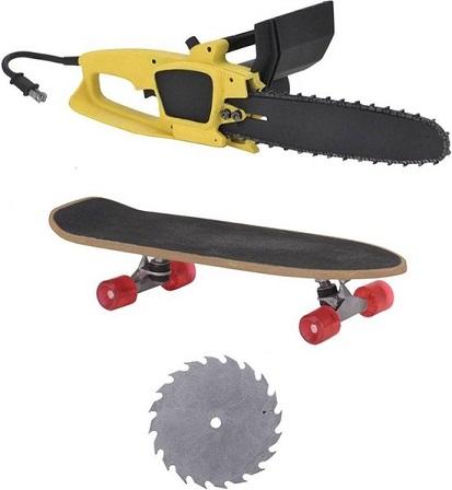 Gremlins: Ultimate Stripe Gremlins met cirkelzaag en skateboard - Afmeting 7 Inch Necaing 7 Inch Neca
