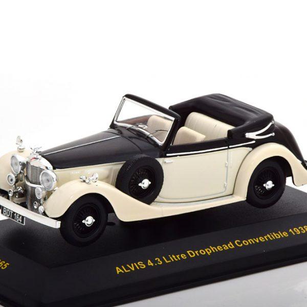 Alvis 4.3 Litre Drophead Convertible 1938 Beige / Zwart 1-43 Ixo Models