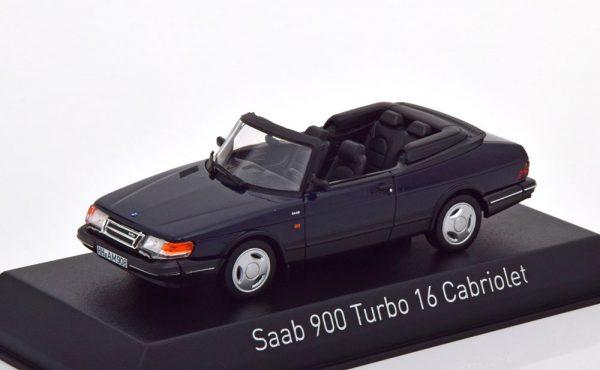 Saab 900 Turbo 16 Cabriolet 1992 Donkerblauw 1-43 Norev