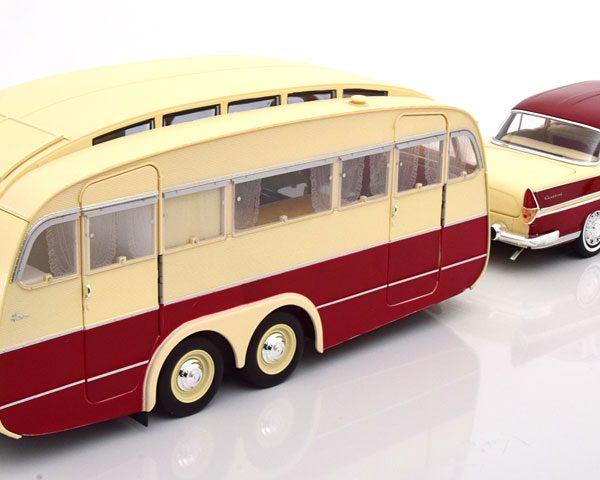 Simca Vedette Chambord 1958 & Caravane Henon - Cardinal Red & Ivory 1-18 Norev