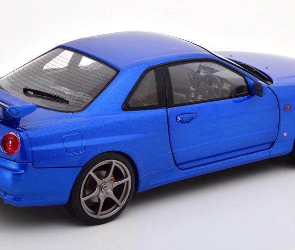 Nissan Skyline GT-R R34 1999 Blauw Metallic 1-18 Solido