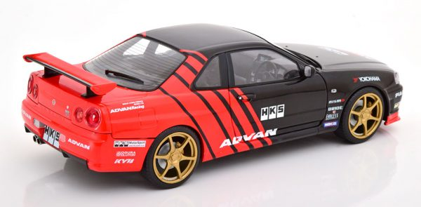 """Nissan Skyline GT-R R34 1999 """"Advan Drift"""" Zwart / Rood 1-18 Solido"""