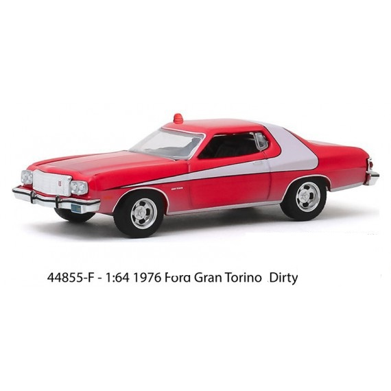 """Ford Gran Torino 1976 """"Dirty Version"""" 1-64 Rood/Wit Greenlight Hollywood Collection"""