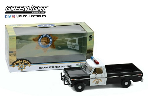"""Ford F-100 1975 """"California Highway Patrol"""" Zwart - Wit 1-18 Greenlight Collectibles"""