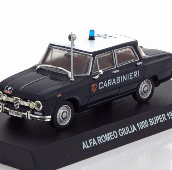 "Alfa Romeo Giulia 1600 Super 1970 ""Carabinieri"" Blauw / Wit 1-43 Altaya"