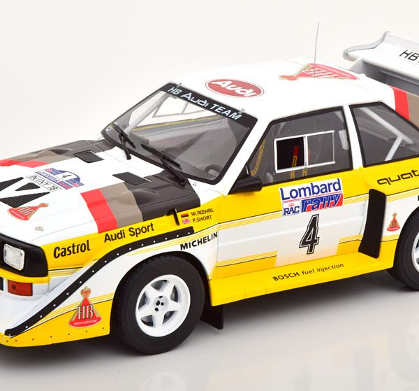 """Audi Sport Quattro S1 No.4, RAC Rally 1985 """"HB"""" Röhrl/Short 1-18 Ixo Models"""