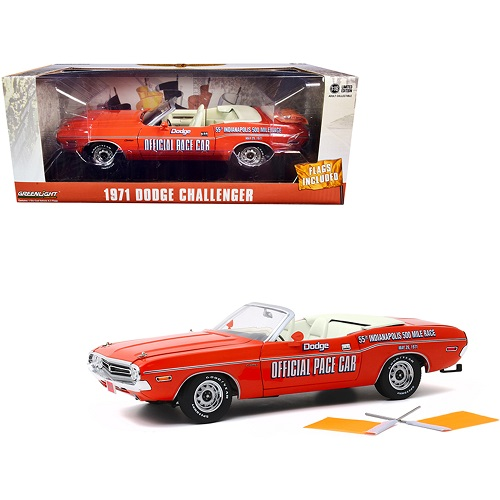 Dodge Challenger Convertible '71 ( Official Indy Pace Car ) Oranje 1-18 Greenlight Collectibles