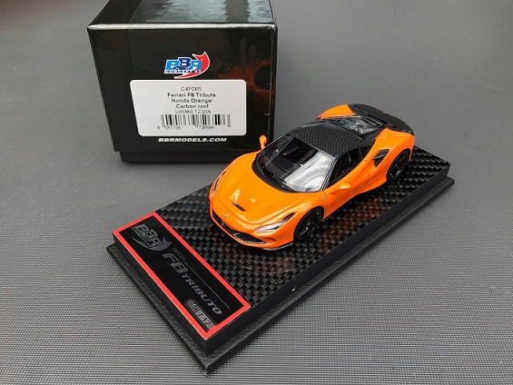 Ferrari F8 Tribute Honda Orange / Carbon Roof 1-43 BBR Models Limited 12 Pieces