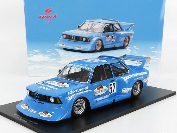 "BMW 320 Gr.5 #57 GS Tuning ""Fruit of the Loom"" 6° Div.2 DRM Zolder 1978 Markus Höttinger Blauw 1-18 Spark"