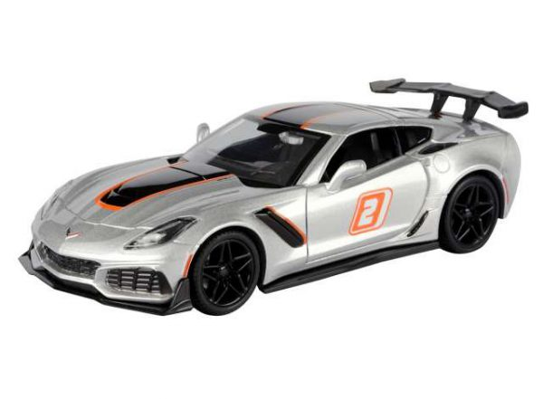 "hevrolet Corvette ZR1 2019 #2 Silver with Black and Orange Stripes ""GT Racing"" 1-24 Motormax"